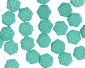 Honeycomb Beads Turquoise Silk Laser Web Czech Pressed Glass Hexagon Two Hole Beads 6mm 30 beads