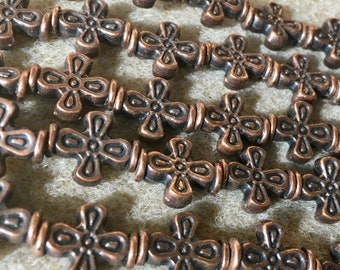 Antique Copper Pewter Patterned Double Sided Cross Beads 15x12mm Approx 14 Beads