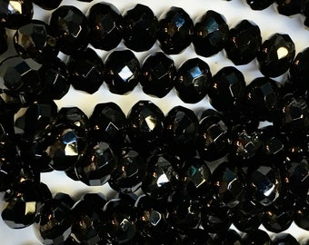 Black Bronze Luster Czech Pressed Glass Medium Faceted Rondelles 5mm x 7mm 25 beads