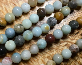 Amazonite Black Gold Gemstone Smooth Rounds 2mm Large Hole Beads 10mm Approx 19 pcs per 8 inch strand