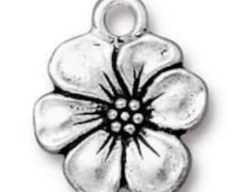 TierraCast Antique Silver Apple Blossom Charm 17mm x 14mm One charm Made in the USA F563C