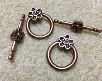 Antique Copper Plated Leaf Patterned Clasp  27x28mm 2 sets Made in the USA F286
