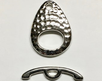 TierraCast Rhodium Plated Hammertone Ellipse Toggle Clasp 24mm x 22mm Lead Free Pewter One Clasp