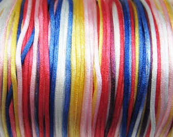Rainbow Connection Variegated Satin Rattail Cord 1mm 6 yards for Macrame Kumihimo Knotting