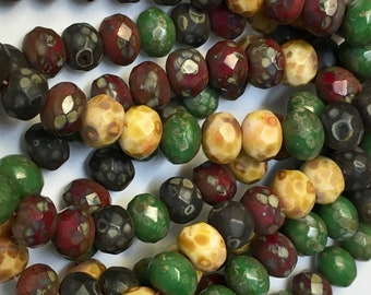 Old World Mix Beige Green Red Black Czech Pressed Glass Medium Faceted Rondelles with Picasso 5mm x 7mm 25 beads