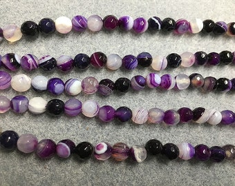 Madagascar Agate Purple and Black Dyed Striped and Solid Agates Faceted Round Gemstone Beads 6mm Approx 29 Beads Per 8 Inch Strand