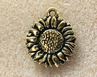 2 Sunflower Charm Antiqued Gold Plate Pendant Charm TierraCast Lead Free Pewter 15mm x 18mm 2 pc F397FA