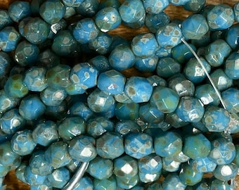 6mm Sky Blue with Silver Picasso Czech Glass Fire polished Crystal Beads 25 beads