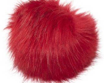 Extra Large Imitation Fur Faux Red Fur Pom Pom Ball with Loop for Craft Projects Hat Decoration Knitting Crochet 127mm 5 inches