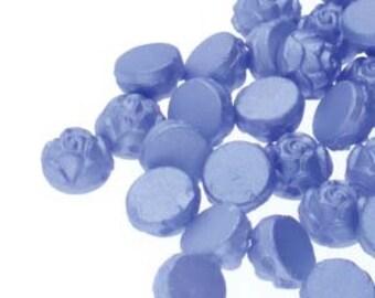 Rosetta Pastel Light Sapphire Blue Rosetta 2 Hole Cabochon Czech Glass Beads Domed Rose Beads 6mm 19 grams