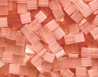 Silk Pale Coral Miyuki 5mm Square Two Hole Tila Beads 7.2 grams