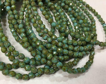 Blue Green Picasso Czech Glass Firepolished Crystal Beads 4mm