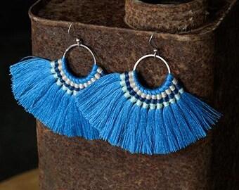2 Zola Elements Blue Mykonos Fanned Tassels on Ring Silver Finish 89x50mm 2 tassels