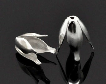 CYBER SALE 40 Tulip Bead Caps Silver Plated Bendable 4 Petal Cones Bead Caps 13mm x 8mm F363