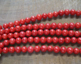 Red Coral 6mm Round  Beads, approx 31 Beads per Strand