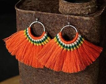 2 Zola Elements Mykonos Orange Citrus Grove Fanned Tassel on Ring Silver Finish 89x50mm 2 tassels