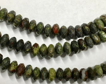 Dragon Blood Jasper 8mm Faceted Gemstone Rondelles Approx 43 beads 8 Inch strand