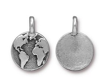ON SALE Antique Silver Earth Charm TierraCast Lead Free Pewter 16.5x11.5mm One charm