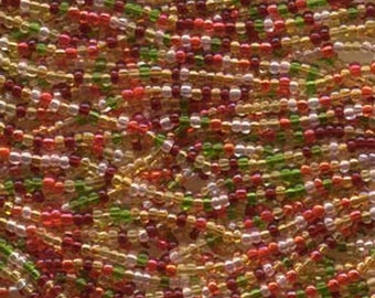 11/0 Tango Orange Harvest Earthy Mix Red Orange Green Genuine Czech Glass Preciosa Rocaille Seed Beads 17.3 grams