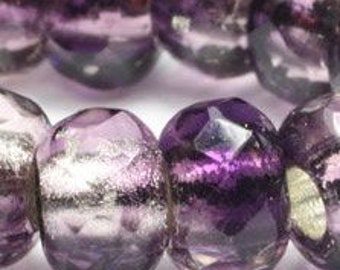 Dark Purple Transparent and Opaque Metallic Silver Lined Czech Pressed Glass Large Hole Faceted Roller Beads 6mm x 9mm 25 beads