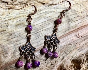 Art Deco Antique Copper Dangles with Purple Aqua Terra Jasper Two Dangles Surgical Steel Earwires