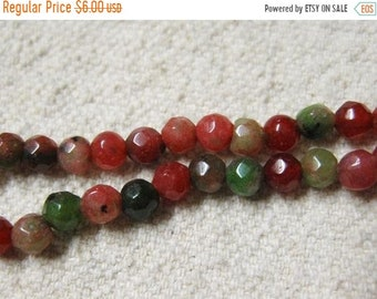 ON SALE Clearance White Jade Dyed Ruby Zoisite Red and Green Faceted Rounds 4mm Approx 45 beads