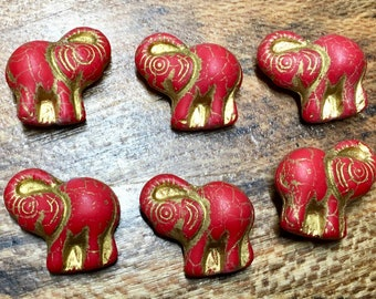 Elephant Red with Gold Detail Czech Pressed Glass Animals Elephants Beads with Gold Inlay 20x23mm