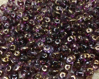 Super Duo Tanzanite Semi Bronze Luster Pressed Glass Two Hole Seed Beads 2.5mm x 5mm 22.5 grams