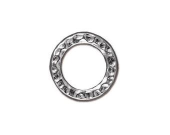 Medium Hammertone Flat Closed Rings TierraCast Lead Free Pewter 13mm 2 Rings