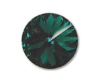 12mm Swarovski 1122 Emerald Faceted Foil Back Rivoli