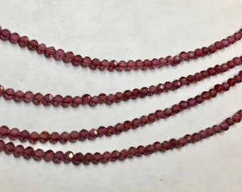 Red Garnet 2mm Faceted Gemstone Round Beads Approx 80 Beads