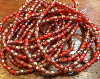 Red Orange Copper Czech Glass Firepolished Crystal Variegated Color Beads 3mm 50 beads