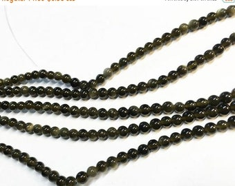 ON SALE Clearance Golden Obsidian Gemstone Smooth Rounds 4mm 8 inch strand Approx 45 pcs per strand