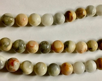 Crazy Lace Agate Natural Multi Colored Gemstone Rounds 8mm 8 inch strand Approx 25 pcs