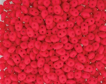 Super Duo Neon Cherry Red Pressed Glass Two Hole Seed Beads 2.5mm x 5mm 12 grams DUO525144