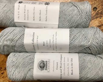 Clearance Cestari Light Mint Green Ashlawn Collection Cotton Wool 3 ply DK Weight 250 yards Pull Skein Made in the USA