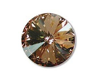 Swarovski Crystal Golden Shadow Foiled Faceted Foil Back Rivoli Stone Beads 1122 14mm