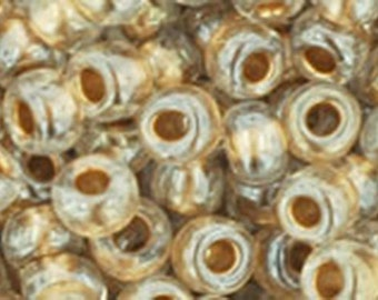 6/0 Gold Lined Crystal Toho Glass Seed Beads 2.5 inch tube 8 grams TR-06-989