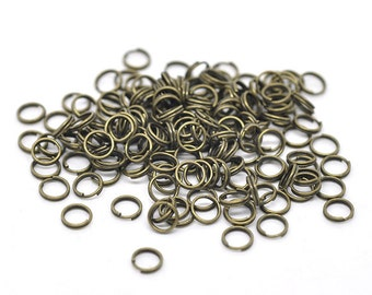 100 Split Rings Antique Bronze Plated 6mm Key Rings Jewelry Connectors F106