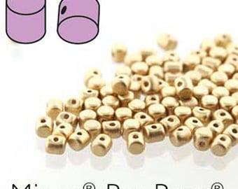 Minos Les Perles Par Puca Light Gold Matte Three Hole Cylinder Czech Pressed Glass 2.5mm x 3mm 9 grams