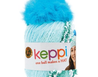 Clearance Keppi Yarn Crochet Hat Kit Taffy Aqua Blue Kids Teens Hat Kit Top This by Lion Brand