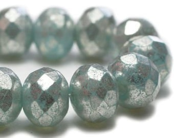 Rondelles Baby Blue with Mercury Finish Czech Pressed Glass Medium Faceted Rondelles 5mm x 7mm 25 beads