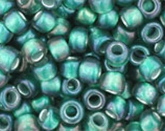 8/0 Crystal Frosted Prairie Green Lined or Teal Toho Glass Seed Beads 2.5 inch tube 8 grams TR-08-270F