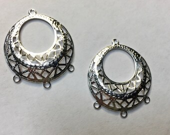 Dangle 3 Way Filigree Silver Plated Earring Dangle Earring Findings Three loop Vintage Style 2 pcs F371B