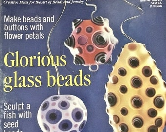 25% OFF Bead and Button Magazine 15 Creative Projects Make Beads and Buttons with Flower Petals Sculpt a Fish with Seed Beads June 1999