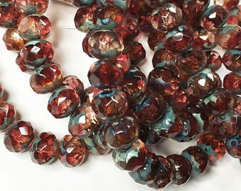 Fuchsia Czech Pressed Glass Medium Faceted Rondelles 5mm x 7mm 25 beads