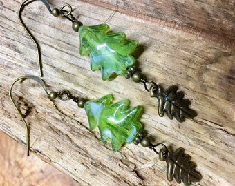 Tree and Leaf Nature Inspired Earrings with Glass Tree Beads Antique Brass Oak Leaf Dangles Howlite Stones