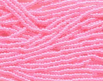 8/0 Pink Ceylon Genuine Czech Glass Preciosa Rocaille Seed Beads 38 grams
