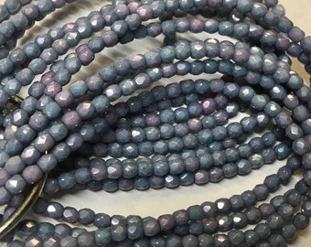 50 Opaque Light Slate Blue Luster Czech Glass Firepolished Crystal Beads 3mm Approx 50 beads
