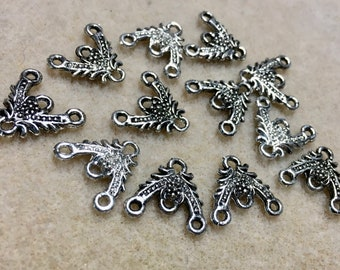 12 Floral Filigree Embellishments Chandelier Connectors 3 Way Triangle Antique Silver for Jewelry 15mm Made in the USA F495B